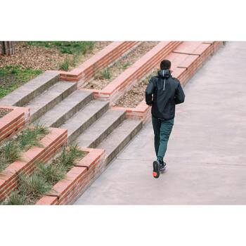 Cortavientos Chaqueta Running Kalenj Run Rain Hombre Negro Cremallera Capucha