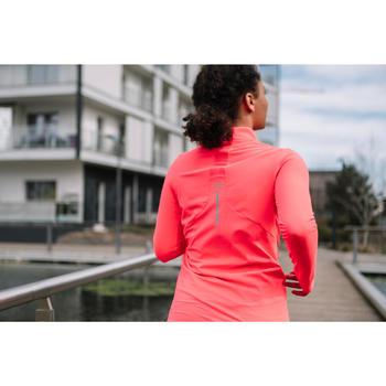 女款跑步長袖拉鍊T恤RUN DRY+珊瑚橘