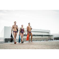SANDALIAS NATACIÓN MUJER METASLAP SSP 500 AZUL MARINO ESTAMPADO HEXA