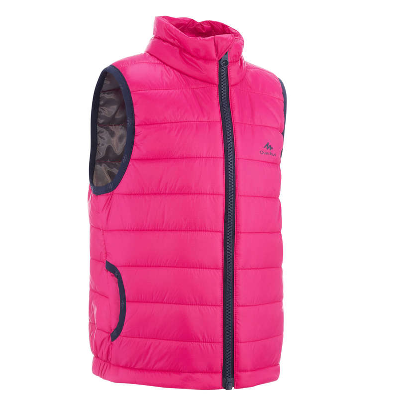 FLEECE PADDED & SOFTHELL JKT BOY 2-6 Y Hiking - KIDS' PADDED GILET PINK QUECHUA - Hiking Jackets