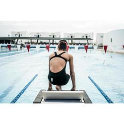 Bañador Natación Aguas Abiertas Nabaiji BFAST Niña Negro Naranja Competición