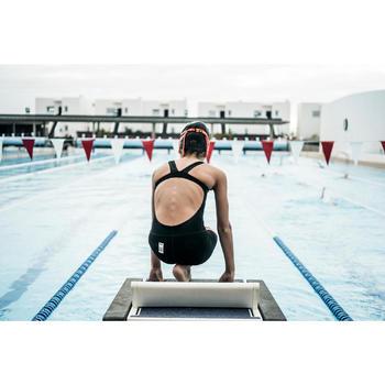 Badpak voor wedstrijdzwemmen meisjes Fina oranje/zwart