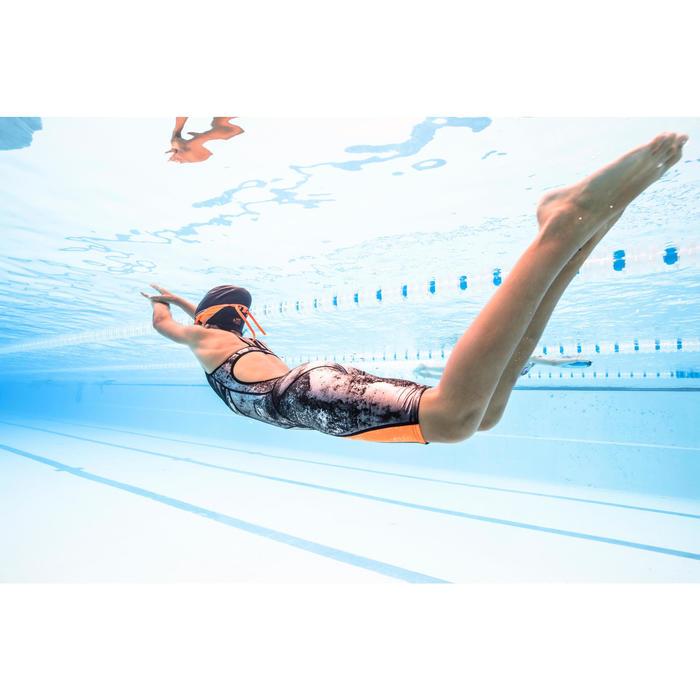 Combinaison de compétition de natation fina fille orange noir - 1494852
