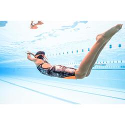 Traje de competición de natación Fina para niña Naranja Negro