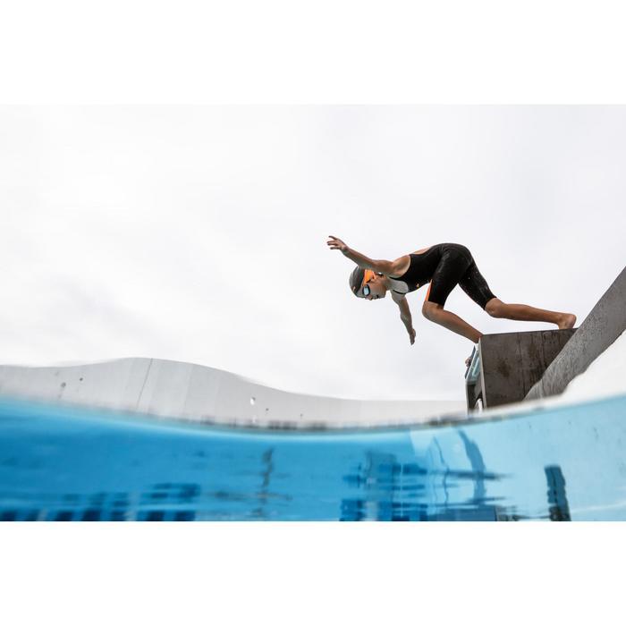 Combinaison de compétition de natation fina fille orange noir