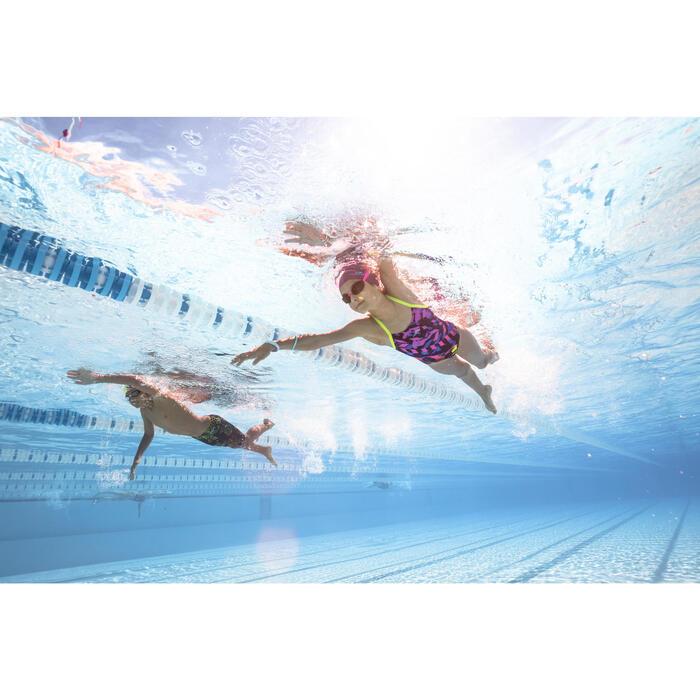 Maillot de bain de natation une pièce fille résistant au chlore Lidia Medi Jaune