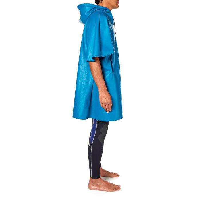 Winddichte fleece poncho SCD voor diepzeeduiken blauw