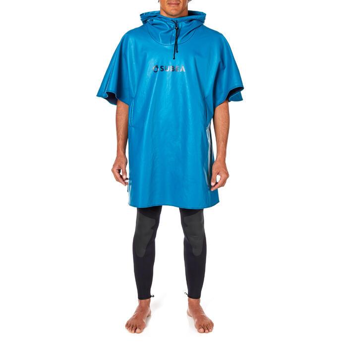 Winddichte fleece poncho voor duiken SCD blauw
