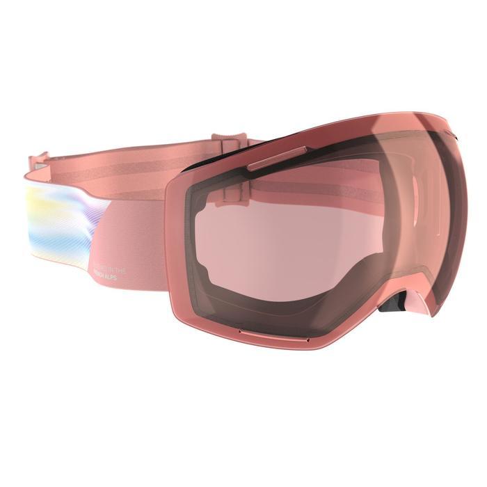 Ski- en snowboardbril voor meisjes en dames G 520 S1 bewolkt weer roze