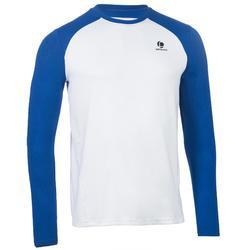 男性保暖T恤 - 白色/藍色