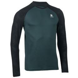 防寒快乾長袖T恤-墨綠/黑色
