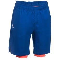 保暖短褲500系列- 藍色/橙色