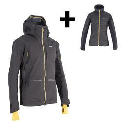 Ski-jas voor freeride 3 in 1 heren SFR 900 grijs