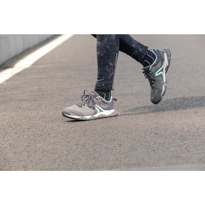 Damessneakers voor sportief wandelen PW 940 Propulse Motion leer grijs / blauw