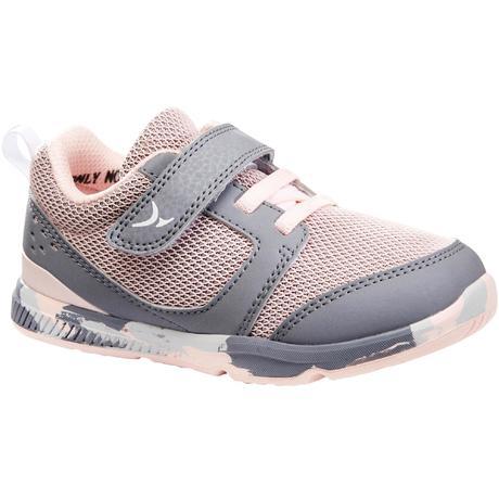 Кроссовки для гимнастики детские розово-серые I move   Domyos by Decathlon 126492a6ee4