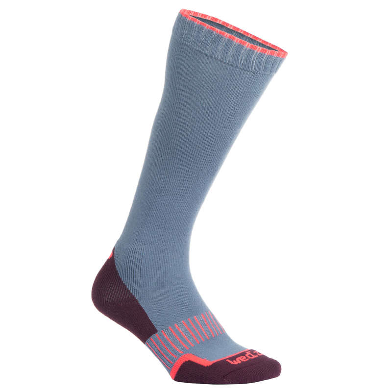 ADULTS SKI SOCKS Skiing - 100 ADULT BLUE PINK WEDZE - Ski Wear