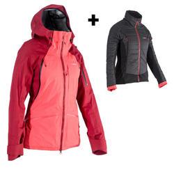 Manteau de ski tout-terrain femme SFR 900 bordeaux rose