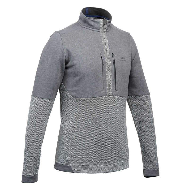 MEN NATURE HIKING JUMPERS/HOODIES Hiking - Men's pullover NH500 grey QUECHUA - Hiking Clothes