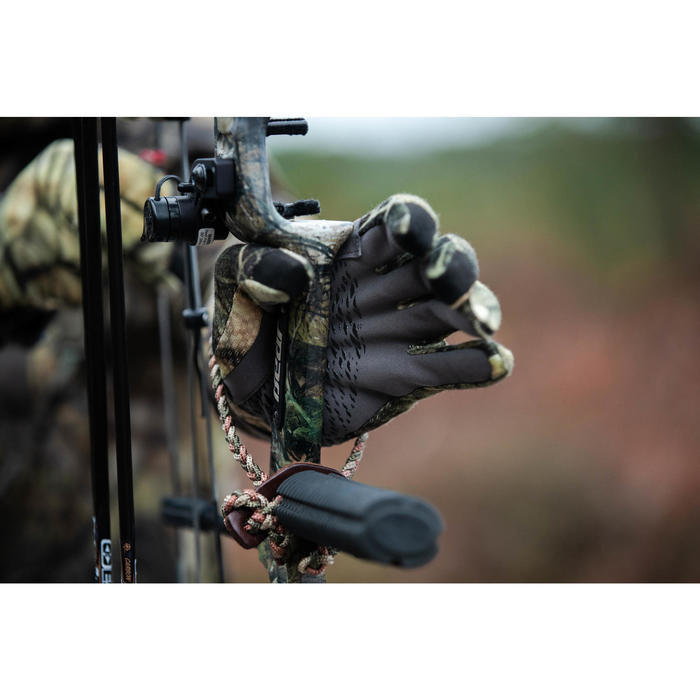 Guantes caza cálidos transpirables lana merina 900 camuflaje Furtiv