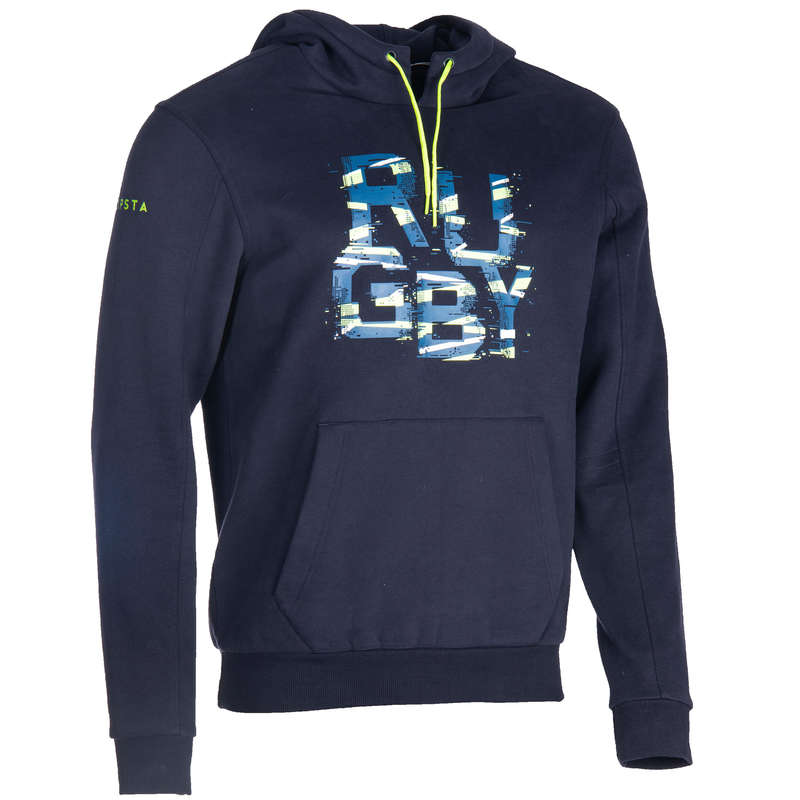 APPAREL RAINY WEATHER RUGBY MEN Rugby - R100 Hooded Sweatshirt - Blue OFFLOAD - Rugby Clothing