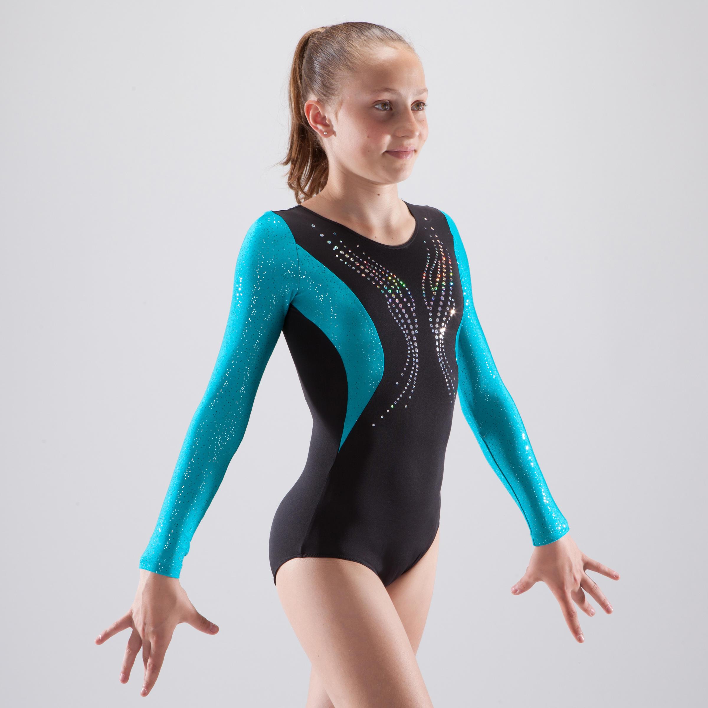 Girls' Artistic Gymnastics Long-Sleeved Leotard - Black/Blue Sequins