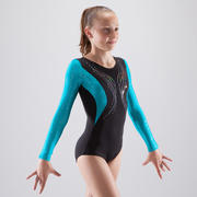 Payasito de manga larga de gimnasia artística femenina negro y azul lentejuelas