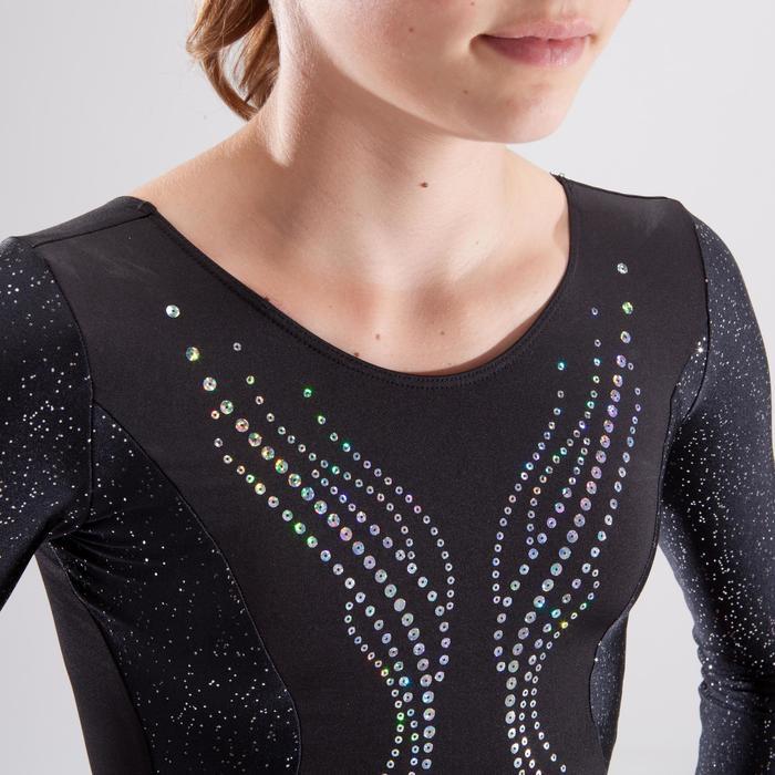 Justaucorps manches longues gymnastique artistique féminine noir et sequins - 1498870
