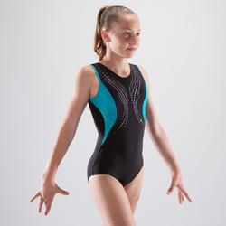Maillot de gimnasia artística femenina negro turquesa lentejuelas