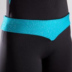 Short met turquoise tailleband en lovertjes