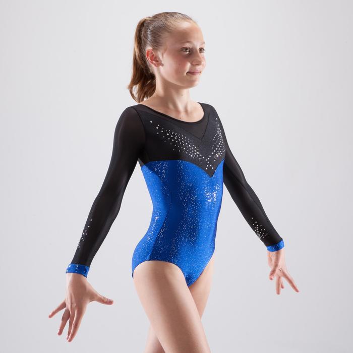 Justaucorps manches longues de gymnastique artistique féminine strass - 1498879