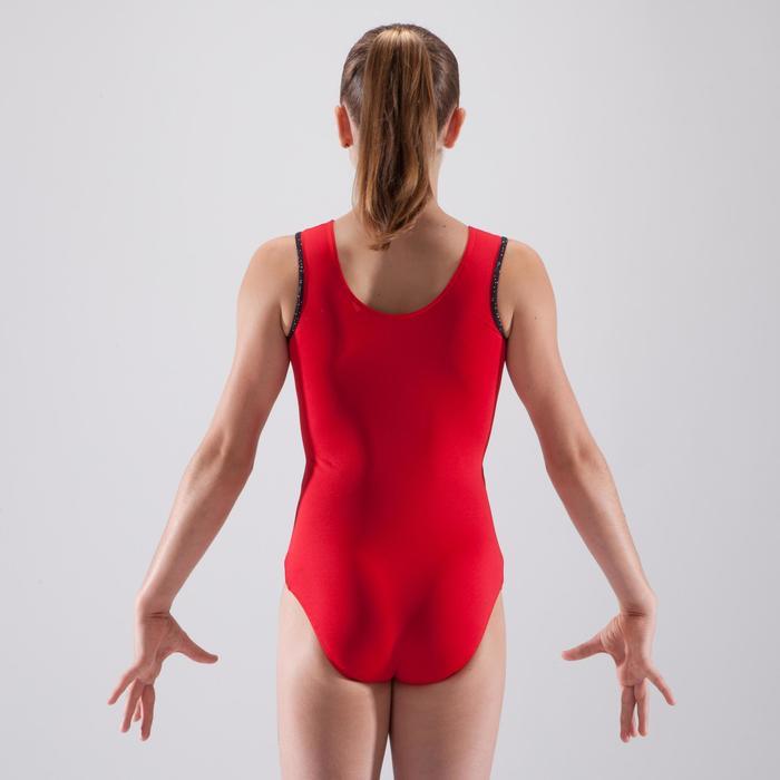 Maillot de gimnasia artística femenina rojo lentejuelas