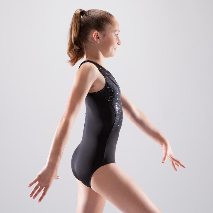 Maillot de gimnasia artística femenina negro lentejuelas