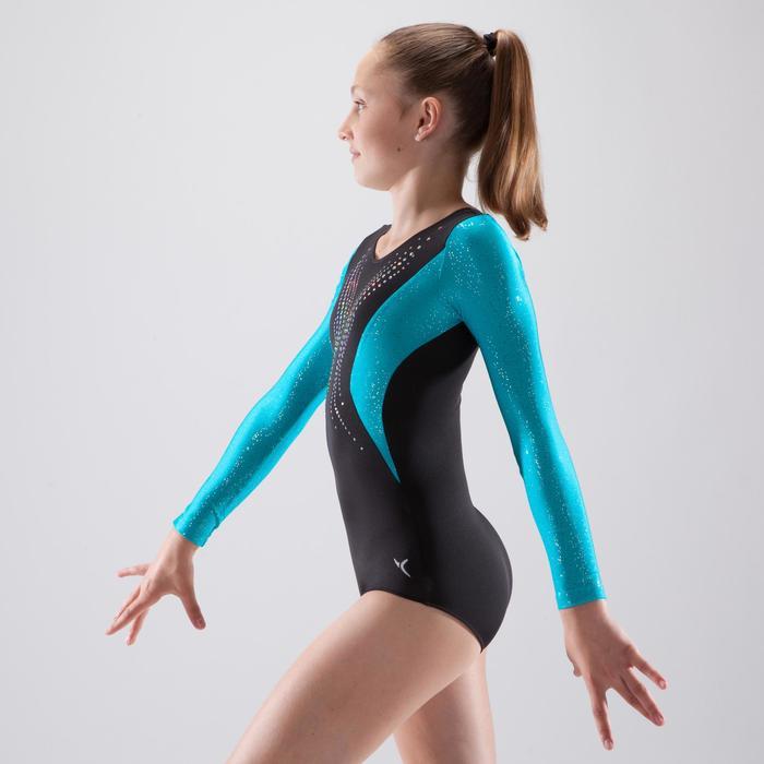 Gymnastikanzug Turnanzug langarm 500 BLU Pailletten schwarz/blau