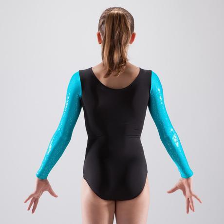 Justaucorps manches longues gymnastique artistique féminine noir et bleu  sequins. Previous. Next 86894374df2