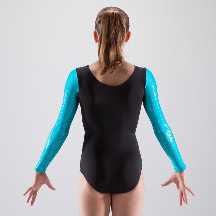 Justaucorps manches longues gymnastique artistique féminine noir et sequins - 1498897