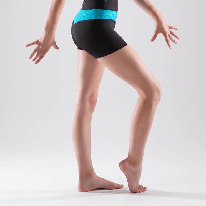 Short de gimnasia artística femenina cinturón turquesa lentejuelas