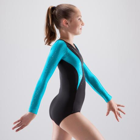 b46c5f058e94 Girls' Artistic Gymnastics Long-Sleeved Leotard - Black/Blue Sequins.  Previous. Next