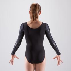 Maillot de manga larga de gimnasia artística femenina negro lentejuelas