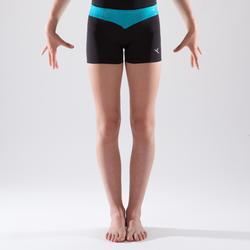 Short de gymnastique artistique féminine ceinture turquoise paillettes