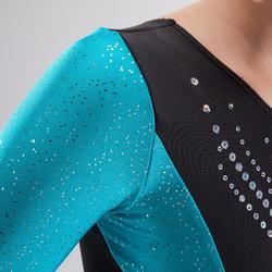 Maillot de manga larga de gimnasia artística femenina negro y azul lentejuelas