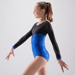 Gymnastikanzug Turnanzug langarm 900 DEB Strass blau
