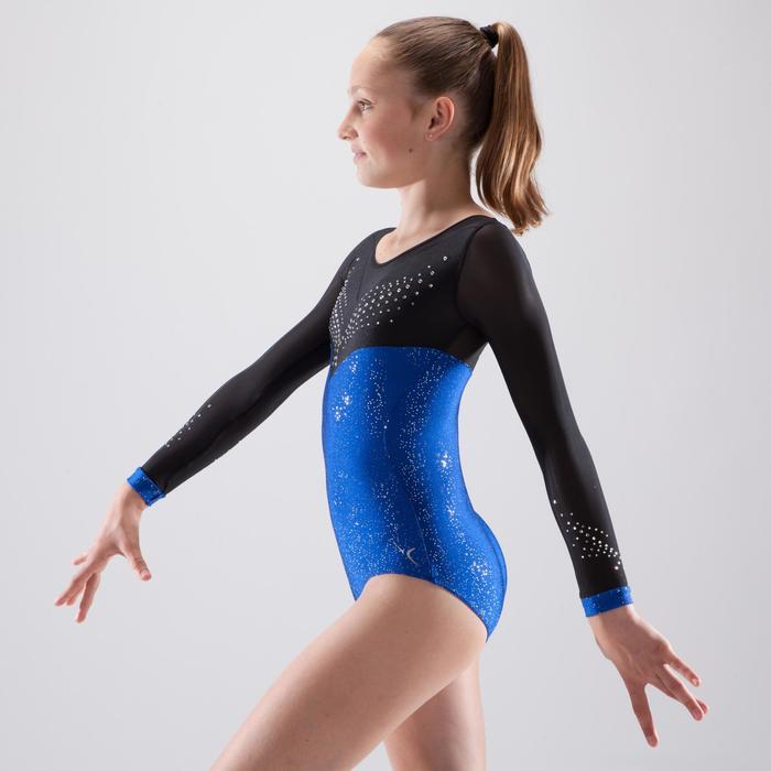 Justaucorps manches longues de gymnastique artistique féminine strass bleu