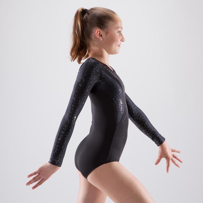 Justaucorps manches longues gymnastique artistique féminine noir et sequins - 1498923