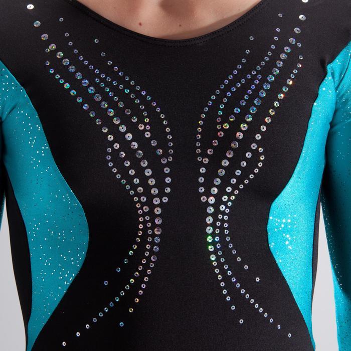 Justaucorps manches longues gymnastique artistique féminine noir et sequins - 1498926