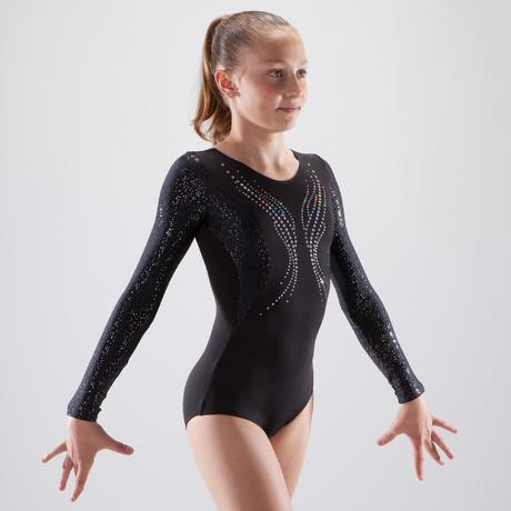 Justaucorps manches longues gymnastique artistique féminine noir sequins  7448fc0e4d8