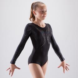 Justaucorps manches longues gymnastique artistique féminine noir et sequins