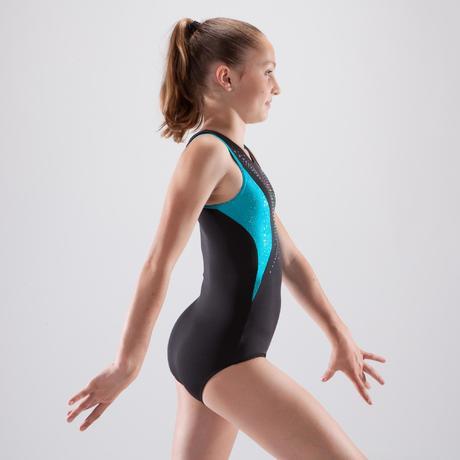 95222eaee07e Girls  Artistic Gymnastics Leotard - Black Turquoise Sequins ...