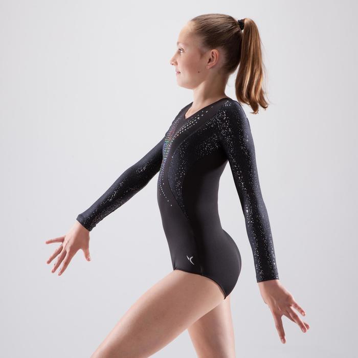 Justaucorps manches longues gymnastique artistique féminine noir et sequins - 1498935