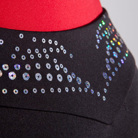 Celana Pendek Senam Artistik Anak Perempuan - Hitam/Berpayet