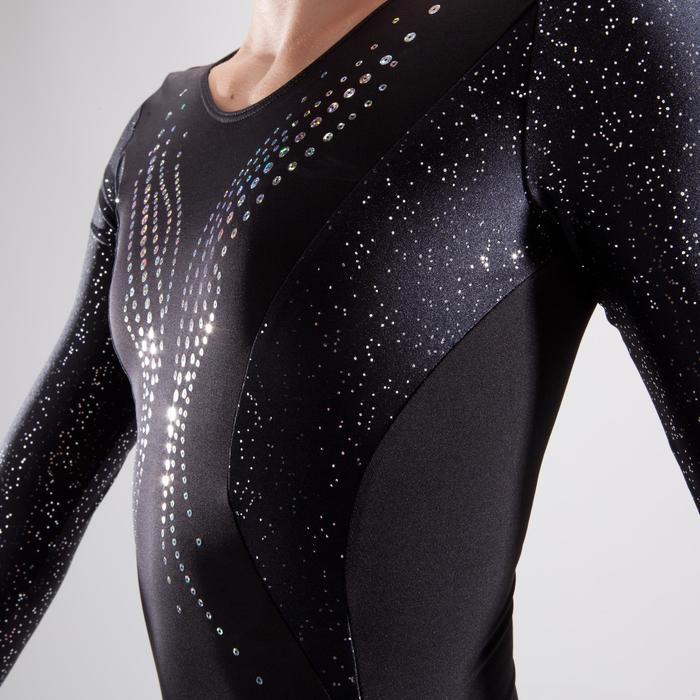 Justaucorps manches longues gymnastique artistique féminine noir et sequins - 1498942
